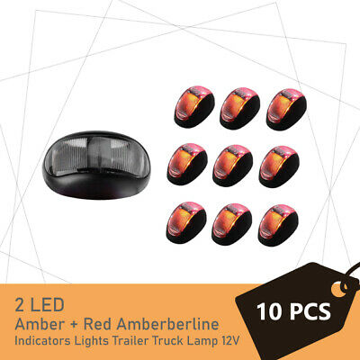10 x 2 LED Amber + Red Side Marker Indicators Lights Trailer Truck Lamp 12V 24V