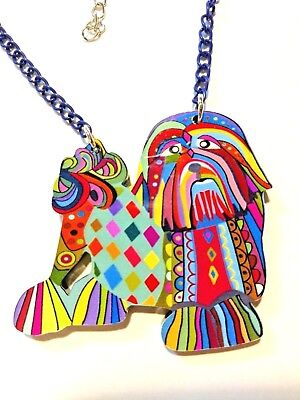 Lhasa Apso Dog Pup Pendant Necklace Multicolor Acrylic Jewelry