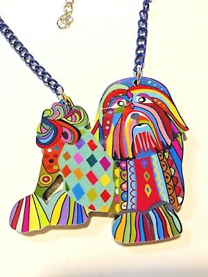 Shih Tzu Dog Pup Pendant Necklace Multicolor Acrylic Jewelry