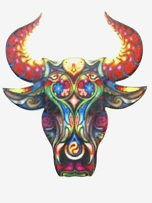 Bull Taurus Zodiac Steer Cow Large Multicolor Acrylic Pin Brooch Jewelry