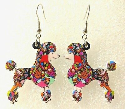 Poodle Dog Pup Double Sided Earrings Floral Multicolor Acrylic Jewelry