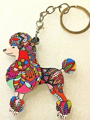 Poodle Dog Pup Acrylic Key Ring Multicolor Floral Keychain Jewelry