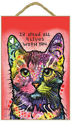Cat I'd Spend All 9 Lives With You Dog Dean Russo Wood Plaque Sign