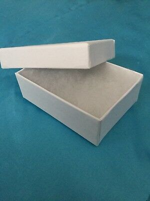 New Case of 70 White Embossed Cotten Filled Jewelry Boxes 3 1/16x2 1/8x1 Inch