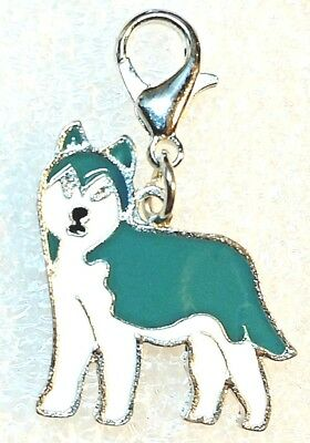 Husky Dog Pup Teal Blue Bag Purse Charm Dangle Zipper Pull Jewelry
