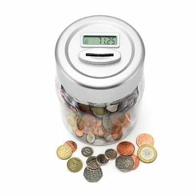 Electronic Lcd Money Counting Jar Box Digital Piggy Bank Accepts New £1 Coins ~A
