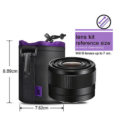 Neoprene DSLR Camera Lens Pouch Bag Soft Waterproof For Canon Nikon Small Size