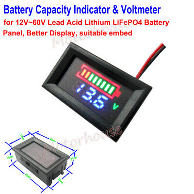LED 12-60V Lead Acid LiFePO4 Car Battery Capacity Level Indicator &Voltage Meter