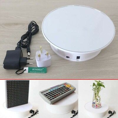 Round White Velvet Top Electric Motorized 360° Rotating Display Stand Turntable
