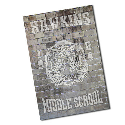 A Stranger Things 1984 Hawkins Middle School Tigers Brick Wall Background Poster