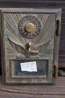 Vintage Brass Post Office Box Door Single Dial American Eagle Antique