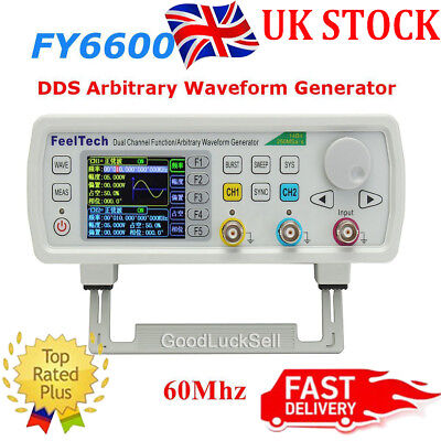 FY6600 60MHz DDS Dual Channel Function Waveform Signal Generator 20Vpp UK Stock