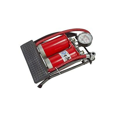 Double Cylinder Barrel Tyre Inflator Foot Pump With Gauge