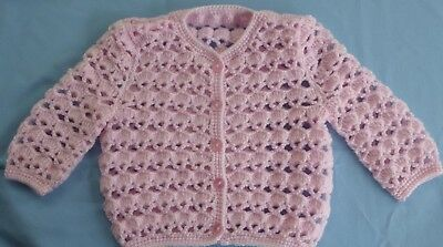 Baby Hand Crochet Jacket Pink Suit 3 To 6 Month Old (52)