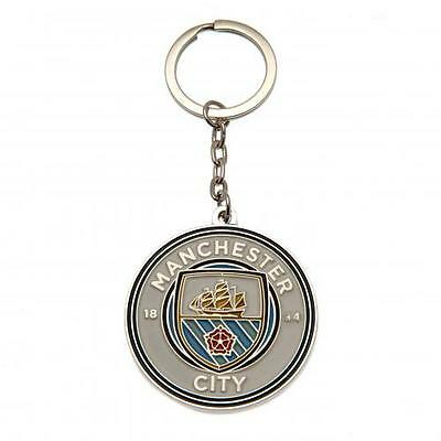 Manchester City FC Official Metal Crest Keyring Brand New