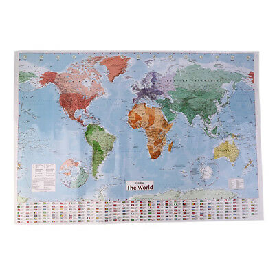 98x68cm English Large Map of the World with Country Flags Office Wall Poster