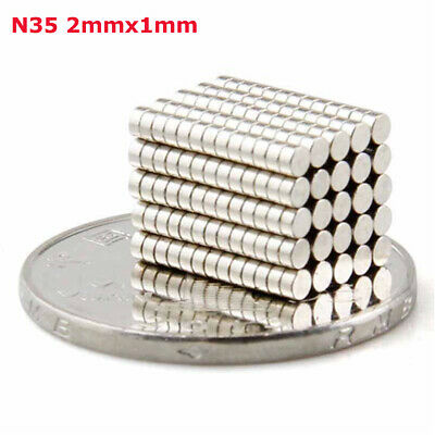 100PCS N35 2x1mm Super Strong Round Disc Magnets Rare-Earth Neodymium Magnet