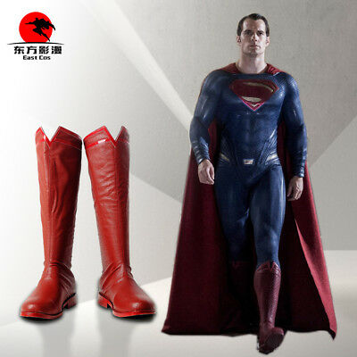 DFYM Justice League Superman Cosplay Clark Kent Leather Boots Shoes Custom Made