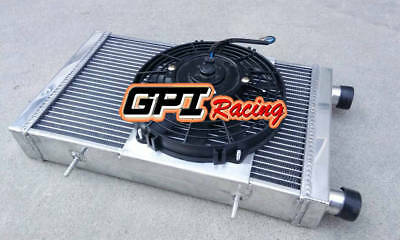 Aluminum Radiator + Shroud + Fan For Lotus Europa Coupe S1 S2 TC 1.5/1.6l 66-76
