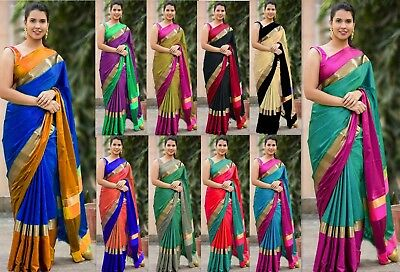 Bollywood Saree Designer Cotton Silk Sari traditional fancy KANjIPURAM Indian PT
