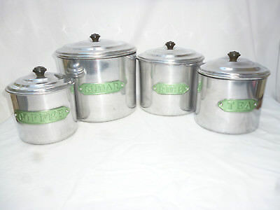 VINTAGE 1950s POLISHED ALUMINIUM CANISTER SET- Raco Brand by Rex, Australia- vgc
