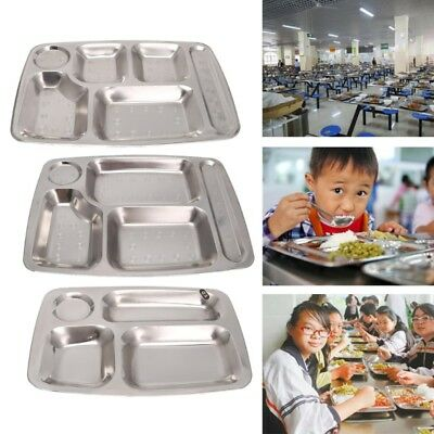 Stainless Steel Divided Dinner Tray Lunch Container Food Plate 4/5/6 Section