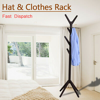 8 Hook Wooden Coat Hanger Stand Hat Bag Clothes Metal Rack Tree Style Storage