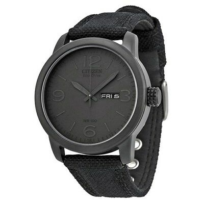 NEW Citizen Men's Black Canvas Eco Drive Watch - BM8475-00F