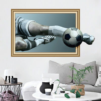 3D Football Sports Soccer Player Wall Sticker Removable Vinyl Decals Room Decor