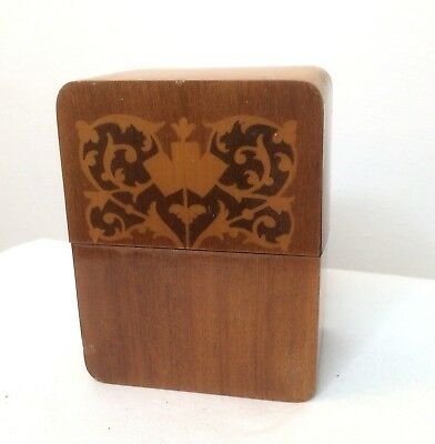 Vintage Wooden Treen Playing Card Box 2 Packs Cards Inlaid 12x 9x 6cm