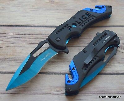 8 Inch Tacforce Police Spring Assisted Tactical Rescue Knife With Pocket Clip