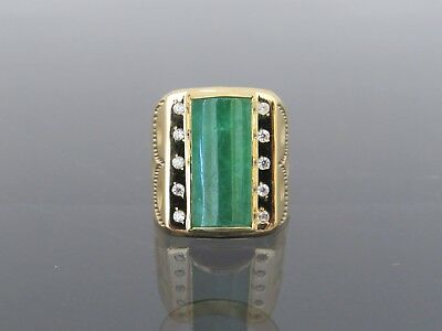 Vintage 18K Solid YG Saddle Green Jadeite Jade White Topaz Men's Ring Size 8.5