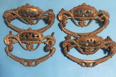Antique Brass Ornate Victorian Drawer Pulls Furniture Desk Knobs #3 Lot Of 4