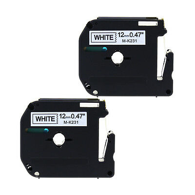 "2PK MK231 Compatible for Brother P-touch Label Black on White 1/2"" Tape M-K231"