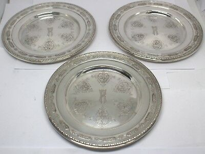 Towle Louis Xiv 5435 Sterling Silver Bread Plates 3 Monogrammed #89057-12Dbw