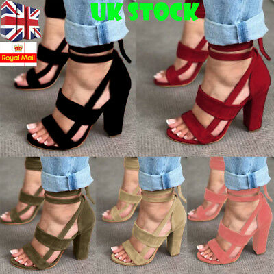 Womens Ankle Strap Open Toe Sandals Block High Heel Ladies Party Prom Shoes Size