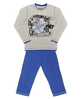 Boys Bart Simpson Grey & Blue T-Shirt & Trouser Nightie Pyjamas Set.18mths -8yrs