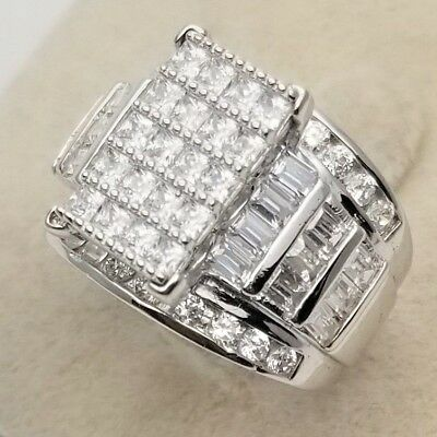 Solid 925 Sterling Silver Ladies Women 14K White Gold Finish Big Cz Promise Ring