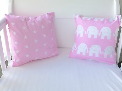 "12"" Handmade Cushion Cover Pink Elephants Girls 🐘💗"
