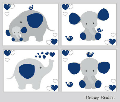 Navy Blue Elephant Nursery Wall Art Prints Baby Boy Room Decor Safari Animals
