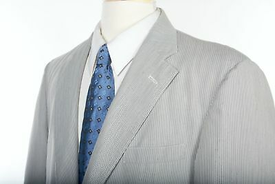 Vtg 70s BROOKS BROTHERS Summer Blazer 42 R in 3/Roll-2 Blue Candy Stripe Cotton