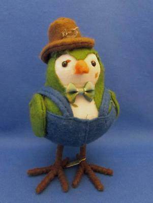 """Farmer"" Green Fabric Bird Figure With Hat & Overalls Dated 2017"