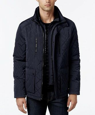 NWT Calvin Klein Men Quilted Stand-Collar Dark BLUE Coat Jacket XL~MSRP$250
