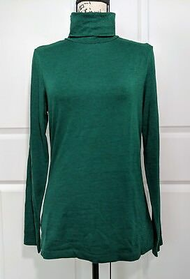 6db4fb3750375a Lands  End Women s Fitted Long Sleeve Layering Turtleneck Forest Green Size  S