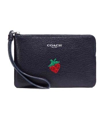 Nwt Authentic Coach F26940 Corner Zip Wristlet With Strawberry Motif Msrp $95