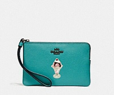 Nwt Authentic Coach F28385 Corner Zip Wristlet With Ice Cream Sundae Motif $95