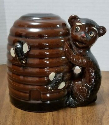 Vintage Japan ceramic beehive and bear coin bank - piggy bank