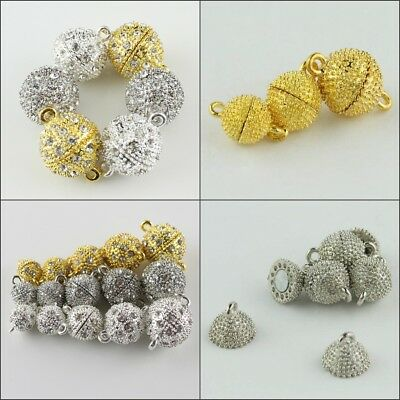 5pcs Czech Crystal Rhinestone Round Ball Strong Magnetic Connector Clasps 8-16mm