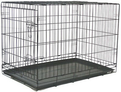 """Extra Large 48"""" Wire Folding Pet Dog Cat Black Cage Kennel With Plastic Pan 742"""