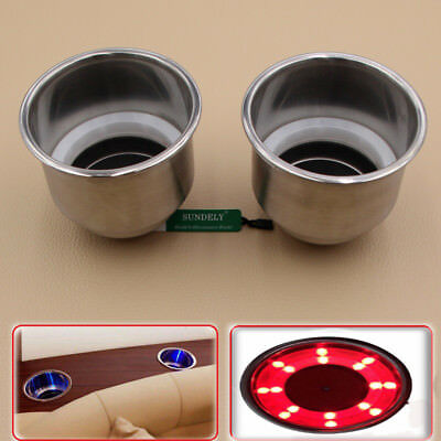2x Red 8 LED Light Stainless Steel Cup Drink Holder Marine Boat Car Camper